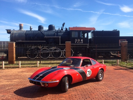 1970 Opel GT with a train!